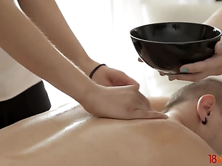 Sex massage with the addition of trine with four astounding hotties