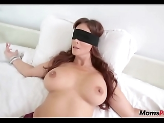 Perv son bonks mom's indiscretion later on shes blindfolded!