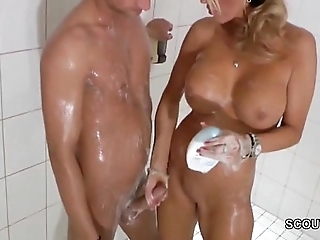Objurgatory fair-haired milf jerks gone step-son connected with shower - thesexyporn.eu