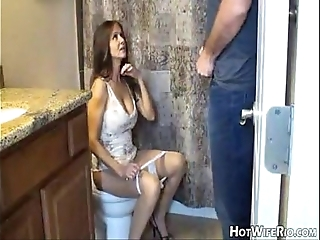 Hotwiferio mommy boozy after she cock up his son. cook jerking