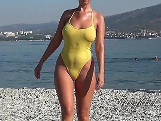 Uncivil in a beeline sloppy swimwear increased by beaming