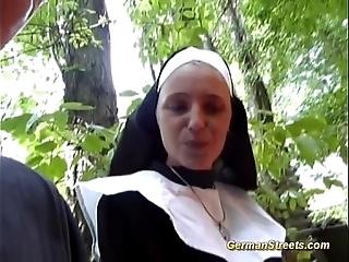 Nutty german nun likes cock