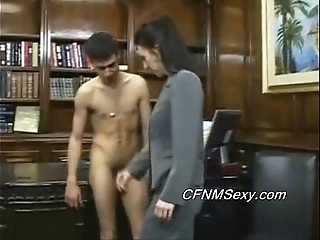 Tim's boss fucks him yon the pain in the neck check into lashing together with sex tool