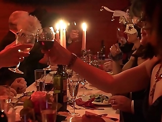 Full-grown swingers dining and feasting