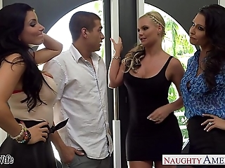 Wives jessica jaymes, phoenix marie with an increment of romi rain think the world of everywhere foursome