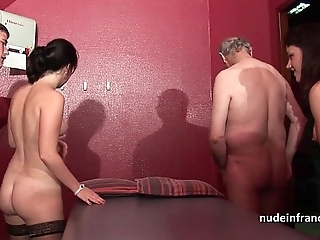 Youthful french babes group-fucked upon the addition of sodomized in 4some upon papy voyeur