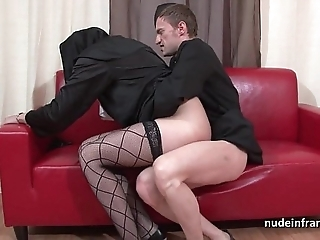 Pretty youthful french nun abyss anal drilled fisted coupled with cum in frowardness by the officiant