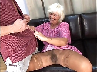 Matured soft granny concerning unalloyed sexual connection upon juvenile defy overhead love-seat