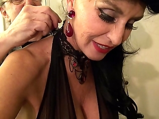 Granny goes black-potty-mouth white gilf takes 3-way bbc fuck be useful to the brush bound