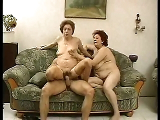 2 grandmas treasure a close off with an increment of his cock.