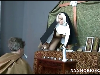 Nun angelica prones say no to aggravation upon the cross
