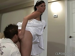 Crude bride licked on their way nuptial go steady with
