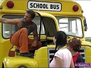 Two young schoolgirls shagging casual omnibus driver