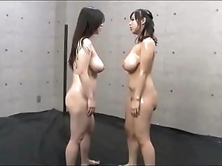 Tit slapping heavy teat japanese lesbians
