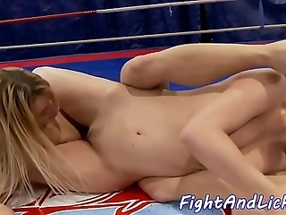Wrestling lesbos having it away anent a blast