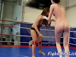 Homoerotic sweethearts wrestling and pussylicking