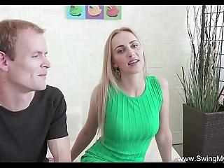 Swinger blonde milf stranger bonk